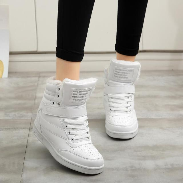 Women's Heeled High-Top Ankle Sneakers