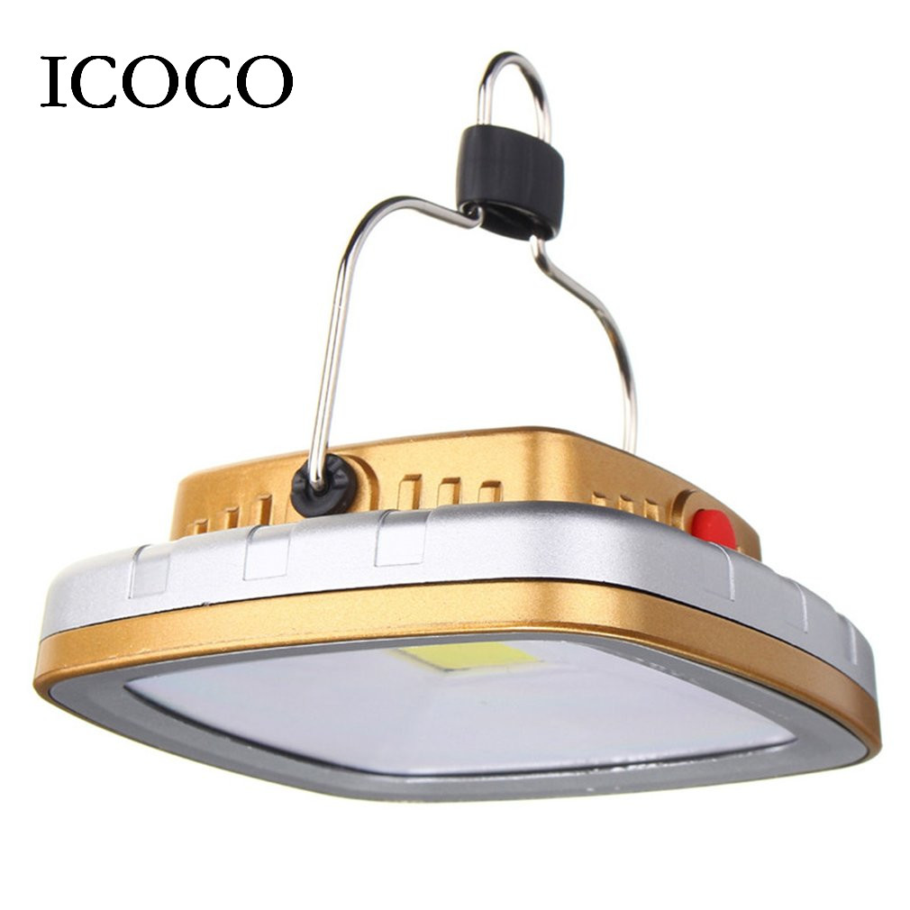 ICOCO USB Rechargeable Camping Tent Lamp COB LED Solar Powered Light Portable Outdoor Garden Night Light for Hiking Travel