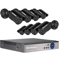 DEFEWAY CCTV Security AHD Cameras 8CH DVR KIT 720P HD Outdoor Waterproof Camera Surveillance System Night