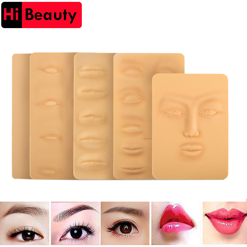 3D Silicone Permanent Makeup Tattoo Training Practice Fake Skin Blank Eye Lips Face For Microblading Tattoo Machine Beginner 2pcs blue silicone permanent makeup eyebrow tattoo practice skin practice skin for microblading tattoo machine