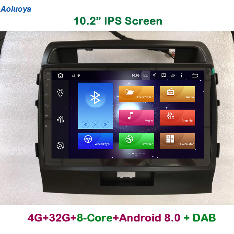 Aoluoya IPS 4G RAM 32G ROM Octa Core Android 8.0 CAR DVD GPS Player For Toyota Land Cruiser 200 LC200 2008-2015 Radio Navigation цена
