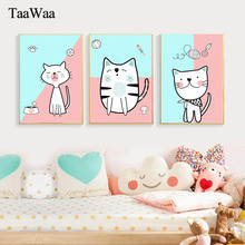 Cartoon Cat Posters and Prints kids Nordic Canvas Painting Wall Art Decorative Pictures For Children Room Modern Home Decoration