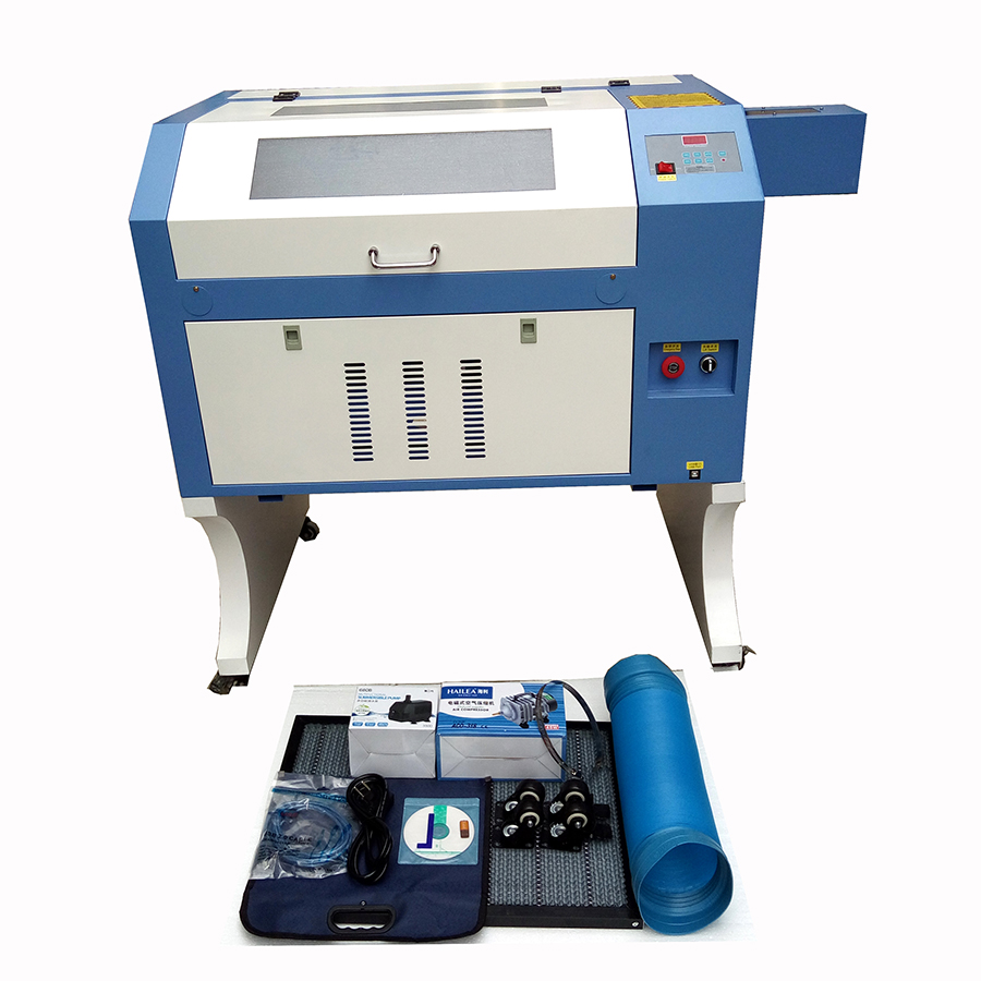 JIN ZHI YIN 80w CO2 laser engraver cutting machine glass machine TS4060 with roller rotary used