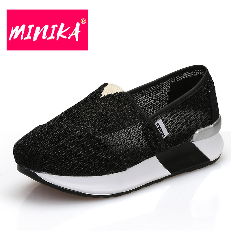 MINIKA Thick Bottom Height Increase Shoes Women Breathable & Comfortable Women Air Mesh Shoes Slimming Swing Flat Shoes Women free shipping candy color women garden shoes breathable women beach shoes hsa21