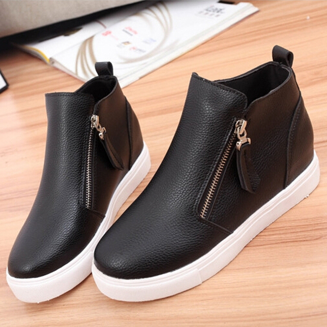 Women Casual Shoes 2016 New Fashion PU Leather Women Shoes Round Toe Height Increase Wedges Shoes Zip Shoes Spring Autumn Z084