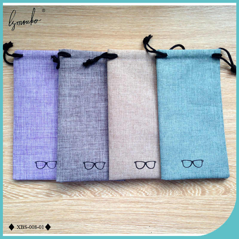 Lymouko 2pcs/Lot Good Quality Portable Sunglasses Pouch for Eyewear Linen Fabric Smooth Surface Container Glasses Bag
