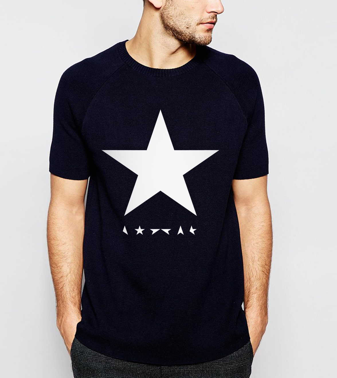 2017 summer David Bowie <font><b>black</b></font> <font><b>star</b></font> men t shirts 100% cotton high quality streetwear casual hipster tops tees brand t-shirt