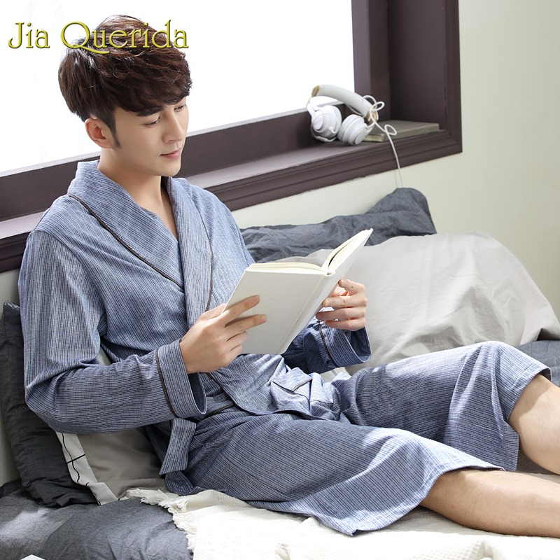 J&Q Male Kimono 2019 New Spring High Quality Bamboo Fiber Breathable Fabric Belted Men's Loungewear Cotton Pjs Brand Bathrobes