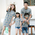 Couple Family Matching Outfits 2016 Summer Mother And Daughter Clothes Cartoon T-Shirts Short Sleeve Family Fitted Costume