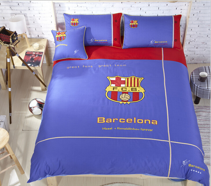 Brand Designer Bedding Set Organic Cotton Embroidery FC Barcelona Kids  Bedding Brazilian Football Team Boy Teenager