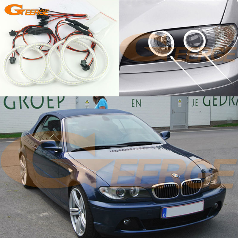 For BMW 3 Series E46 Convertible Coupe Cabrio 2004 2005 2006 LCI Excellent Super bright 3528 SMD led Angel Eyes kit for bmw 3 series e46 2door facelifted coupe 2004 2005 2006 carbon fiber black front grille grill left