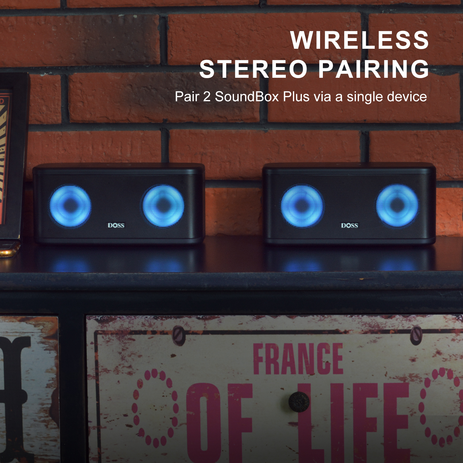 Mixed Colors Lights Booming Bass 66FT Wireless Range,15 Hrs Playtime-Black DOSS SoundBox Pro+ Wireless Bluetooth Speaker with 24W Impressive Sound Bluetooth Speakers IPX5 Wireless Stereo Pairing