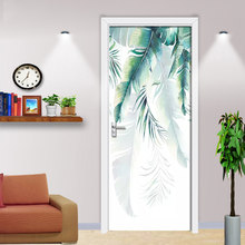 Self Adhesive Decal Banana Leaf Nordic Door Sticker Picture Paper PVC Waterproof 3D Prints Art Home Decor DIY for Living Room(China)