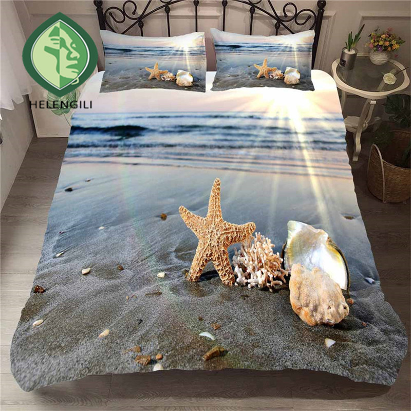 HELENGILI 3D Bedding Set Beach Sea Print Duvet Cover Set Lifelike Bedclothes With Pillowcase Bed Set Home Textiles #ST-07