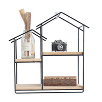 Nordic Simple Wrought Iron Small House Racks Creative DIY Storage Holders Racks Wall Decor Wall Shelf Home Storage Organization
