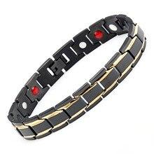 Black Men's Health Bracelets & Bangles Stainless Steel  hologram bracelets Jewelry For Man