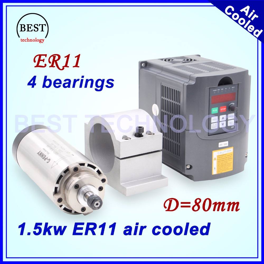 1.5kw air cooled spindle 80mm diameter ER11 4 pcs bearings air cooling CNC milling spindle & 80mm bracket & 220v 1.5kw Inverter water cooling spindle sets 1pcs 0 8kw er11 220v spindle motor and matching 800w inverter inverter and 65mmmount bracket clamp