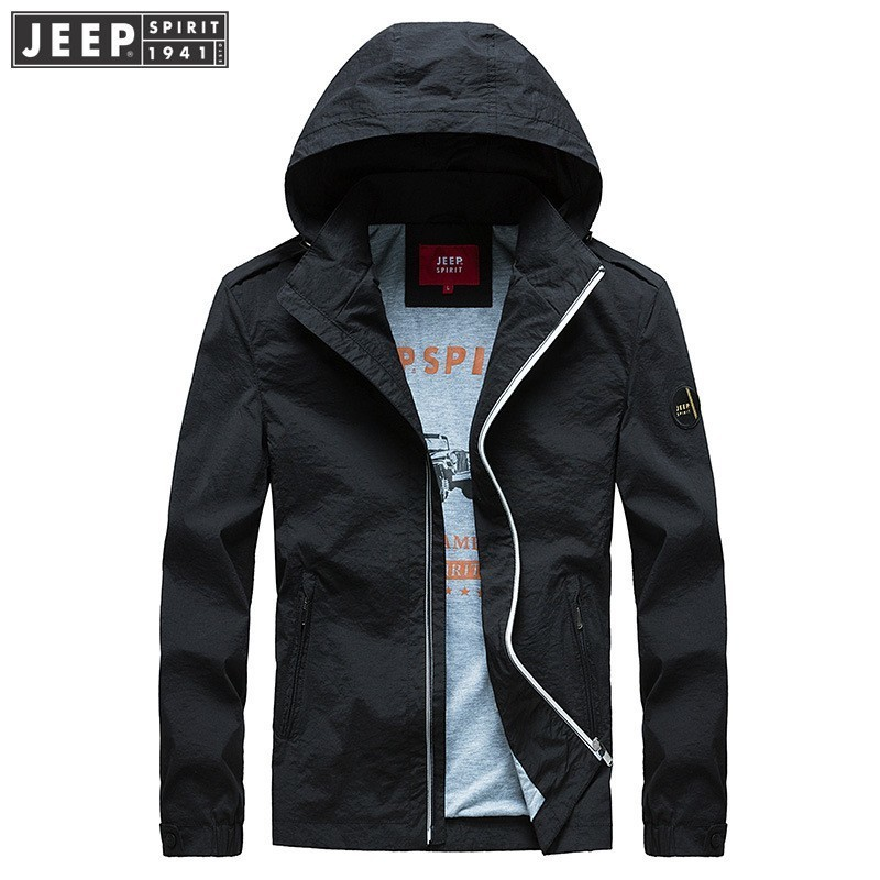 2018 Autumn Spring JEEP SPIRIT Brand Cargo Jackets Coats Quick Dry Brand Hooded Clothes Long Sleeve Solid Color Fashion Jackets in Jackets from Men 39 s Clothing