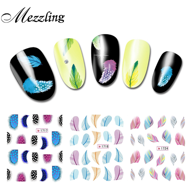 Colorful Creative Feather Water Transfer Nail Decals10sheets