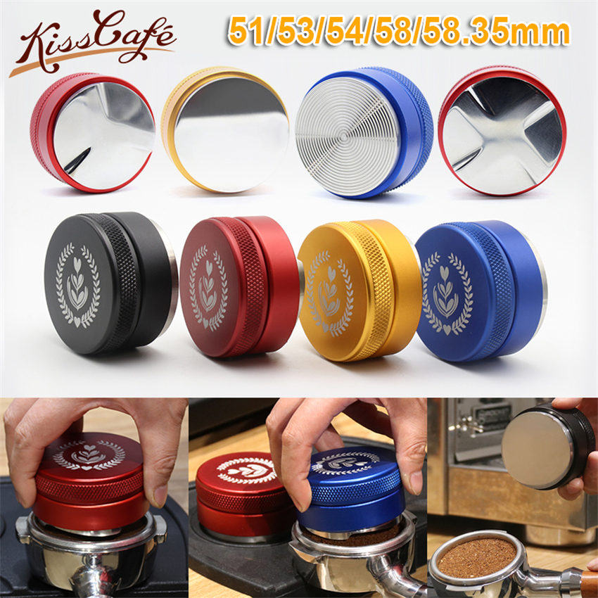 51/53/54/58/58.35mm Adjustable 304 Stainless Steel Coffee Espresso Tamper Three Angled Slopes Base Thread Distribution Tools