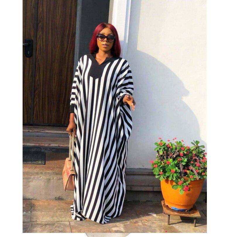 Super large size New style classic African women's Dress Dashiki fashion stretch Printed stripe long dress free size