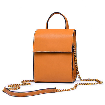 RM-9017 New Fashion Ladies handbag Top layer leather Bags tidal chain pack vertical leather satchel Genuine Leather Shoulder Bag