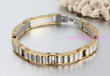 Top Quality New Fashion Jewelry Silver Gold Stainless Steel Motorcycle Biker Chain Men's Boy's Chain Bracelet Bangle