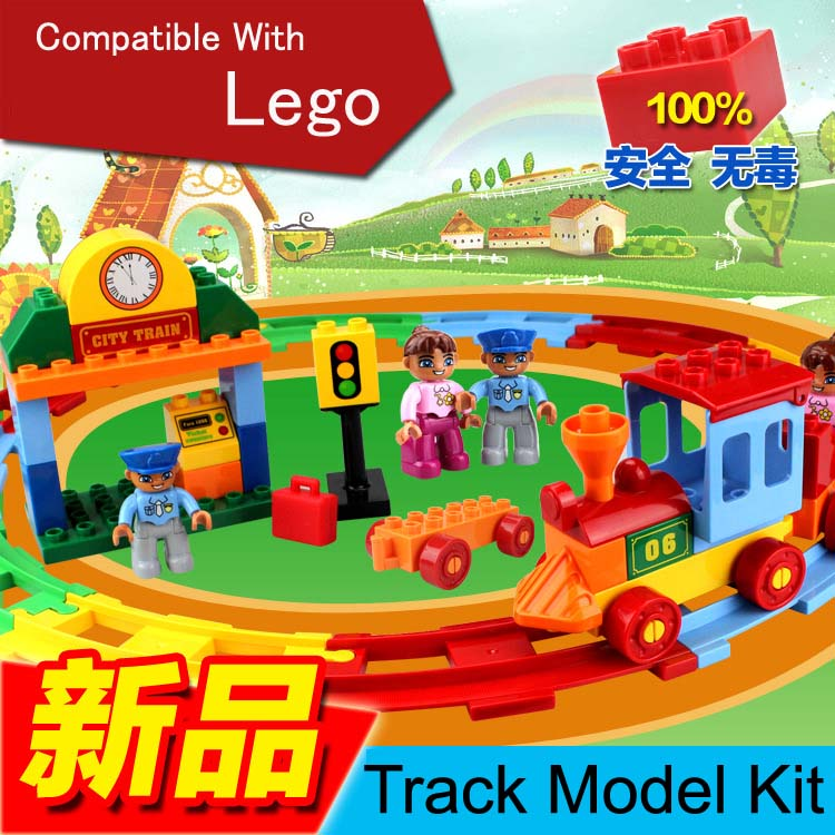 ФОТО Plastic Toys For Kids Learning Education 38PCS Building Blocks With Western Playmobil Track Model Train HO Scale Plastic Block