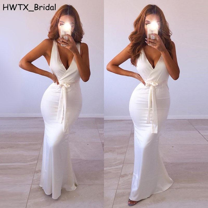 Elegant White Long Bridesmaid Dresses Vestido Largo Sexy