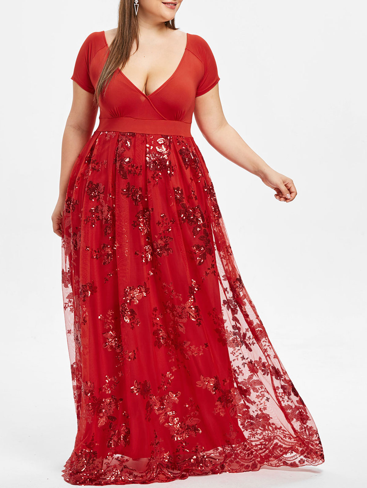 UK STOCK Women Floral V Neck Low Cut Evening Party Long Shirt Maxi Dress Plus