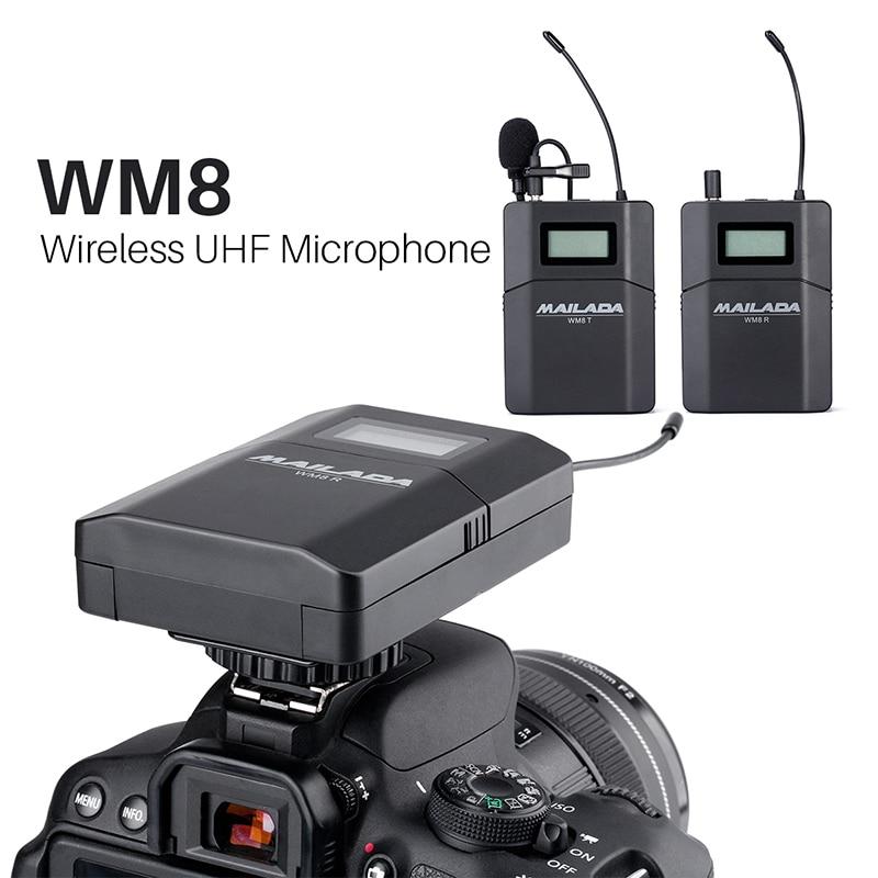 mailada wm8 wireless uhf dslr camera microphone system on camera lavalier lapel mic receiver. Black Bedroom Furniture Sets. Home Design Ideas