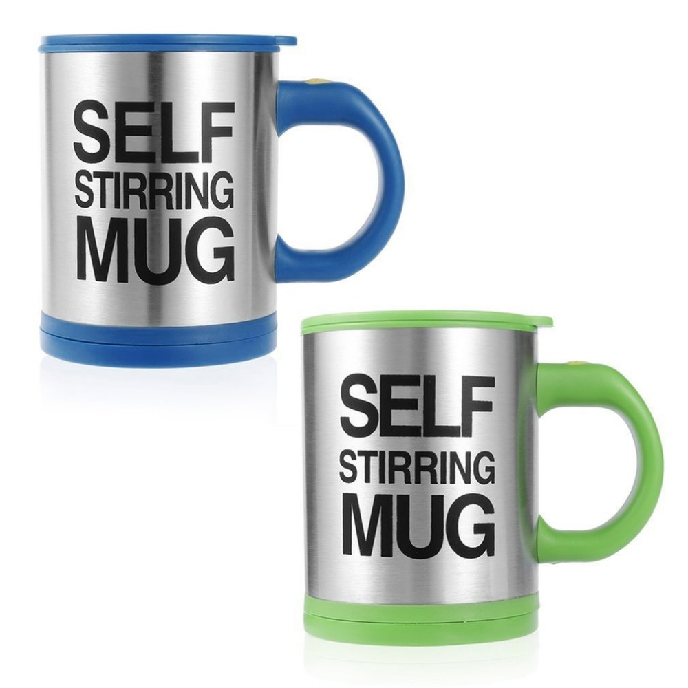6 colors Stainless Steel Lazy Self Stirring Mug Auto Mixing Tea Milk Coffee Cup Office Home Gift Eco-Friendly battery power