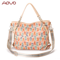 AOVO Beautiful Printing Letter Women Handbag High Quality Durable PVC Women Handbags