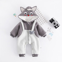 Newborn Baby Rompers Winter Thickened Cotton Baby Cartoon Wolf Hooded Jumpsuits New Spring Toddler Overalls Onesie