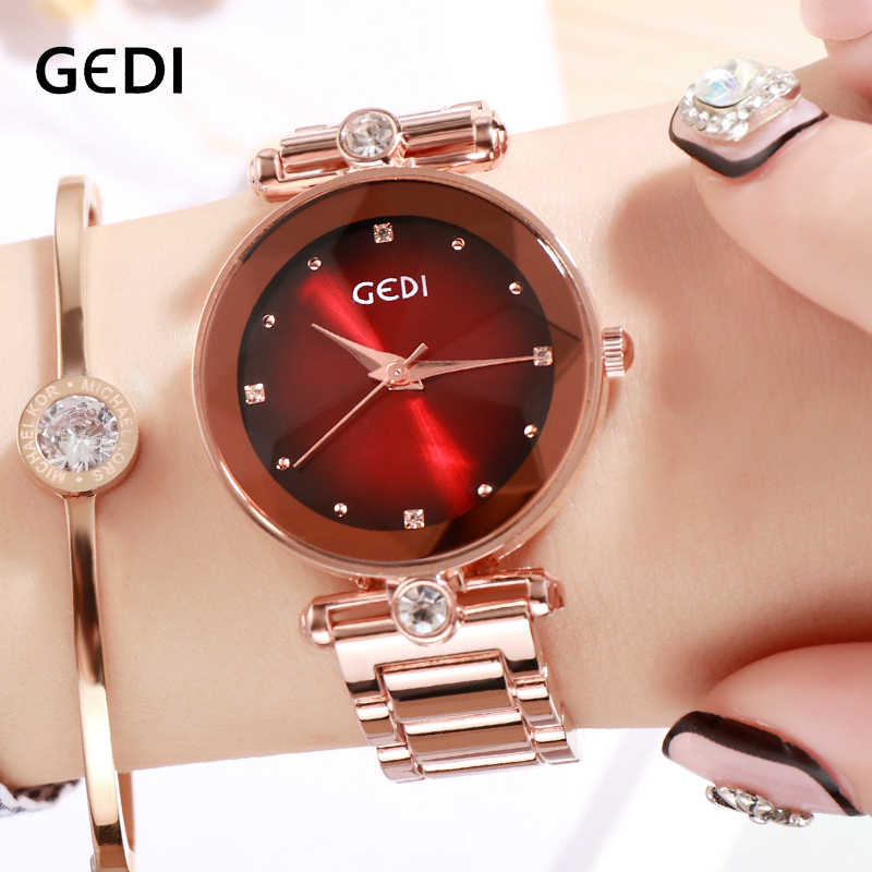 GEDI Rosegold Quartz Women's Watches Top Brand Luxury Ladies Clock Fashion Women Watch Simple Female Wristwatch reloj mujer New