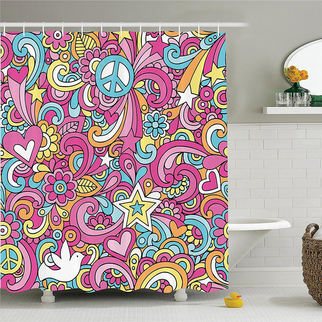 Groovy Decorations Shower Curtain Set Psychedelic Complex Funky Mesmerizing 60s Patterns