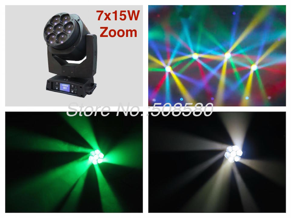 2pcs/lot, Mini Bee Eyes Zoom 7x15W RGBW 4in1 LED Moving Head Beam Light stage wash Lights b eye wash