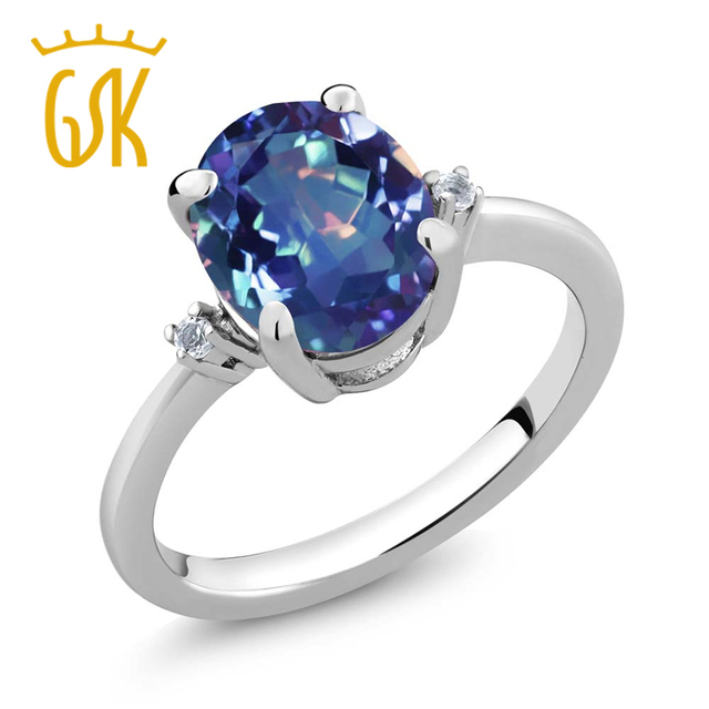 Solid 925 Sterling Silver Jewelry  2.52 Ct Stunning Oval Millennium Blue Mystic Topaz Ring GemStoneKing