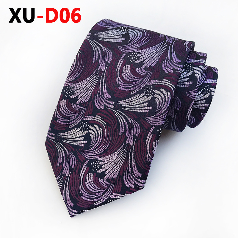 2018 New Silk 8 Cm Purple  Ear Of Wheat Pattern Tie For Wedding Party Boyfriend Gifts