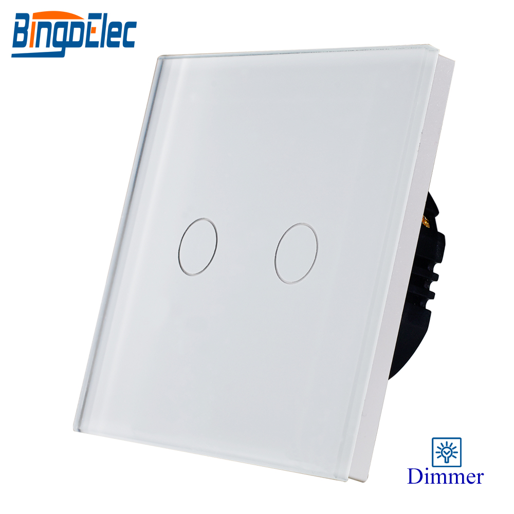Bingoelec 2gang 1way dimmer light switch,white glass panel touch dimmer switch ,fan controller switch 1gang 1way touch remote dimmer switch glass panel touch dimmer light switch eu uk standard ac110 240v hot sale