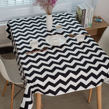 Wave Printing Tablecloth Modern Geometric 100% Cotton High Quality Table Cover Simple Fashion Coffee Cloth Black White 1pc