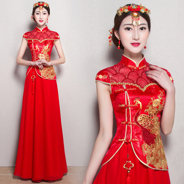 Rojo sexy vestido de boda chino tradicional vestido de novia corto ...
