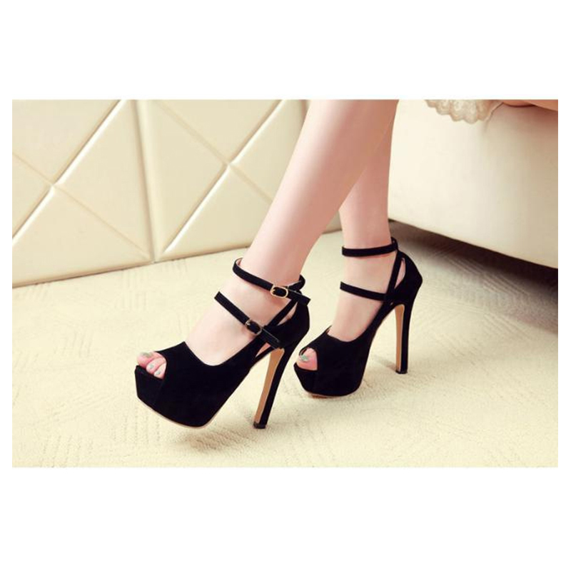 Ankle Strap Women Pumps New Sexy Peep Toe Black Thin Heels Shoes Suede Platform Summer Sandal Pink Wedding Party Shoes for Woman women luxury shoes platform pumps bridal wedding lolita shoes black red beige bottom peep toe high heels fetish shoes size 4 16