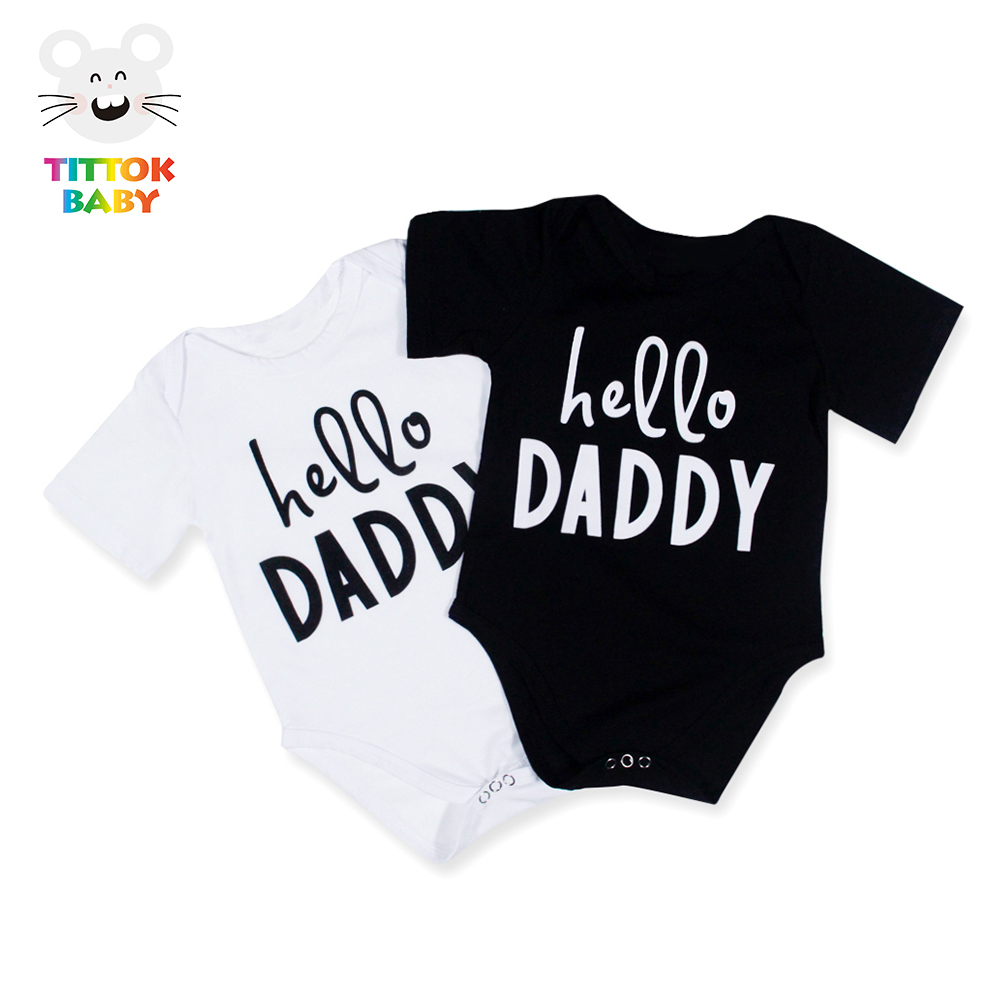 Baby Bodysuit Funny Hello Daddy Tiny Cottos Short Sleeve Black White Newborn China Imported Baby Clothes Unisex Onesie 0-18M
