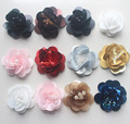 High-end Sequin Flower Beads Patch Hand Sewing Black White Flowers Patches for Clothing Footwear Decorative 10pcs Wholesale Pink