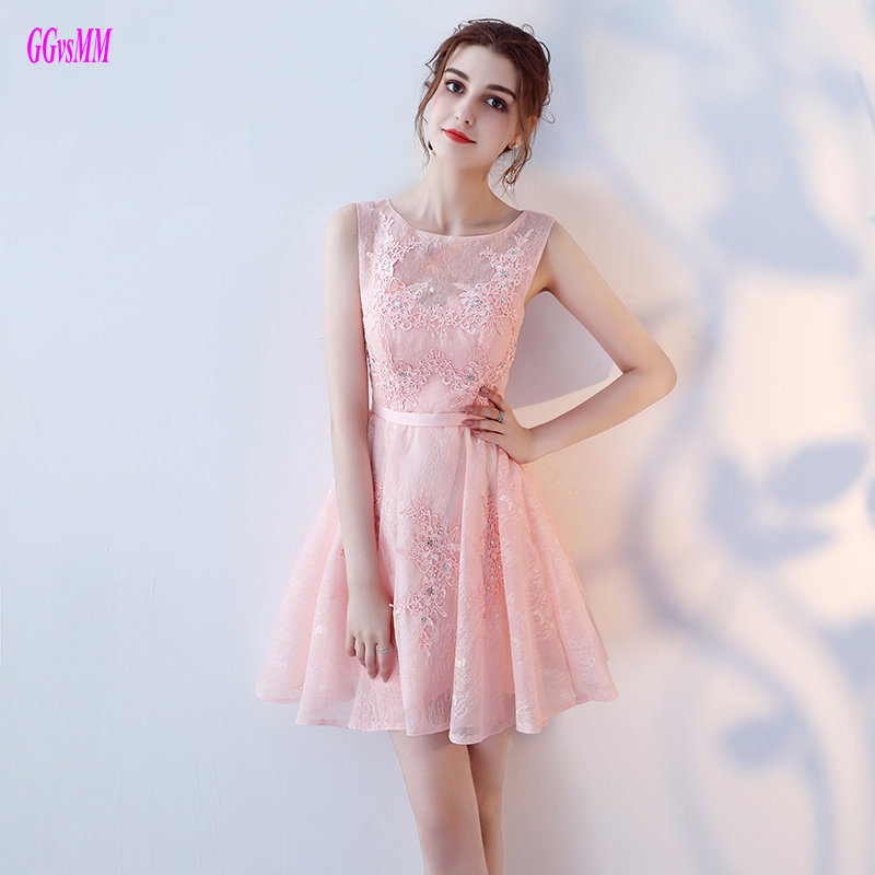 Unique Pink Short   Prom     Dresses   2019 New Sexy Casual   Prom   Gowns Scoop Lace Appliques Crystal Knee Length   Prom     Dress   Real Photos
