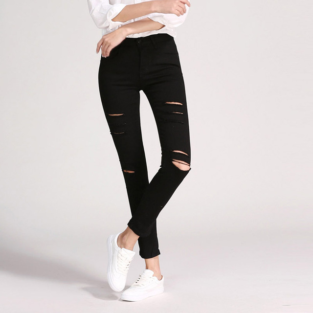 2017  Spring Autumn New Vintage All Match Essential Black High Waist Slim Hole Jeans Package Hip Full Pants Trousers Women