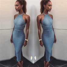 Sexy Slim Bodycon Dress Halter Long Sleeve Backless Sleeveless Knitted High Slit Peplum Vestidos Bandage Women Dress Evening