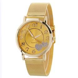 Горячая мода цвет серебристый, золотой сетки Группа любовь циферблат наручные часы Повседневное Для женщин кварцевые часы подарок Relogio
