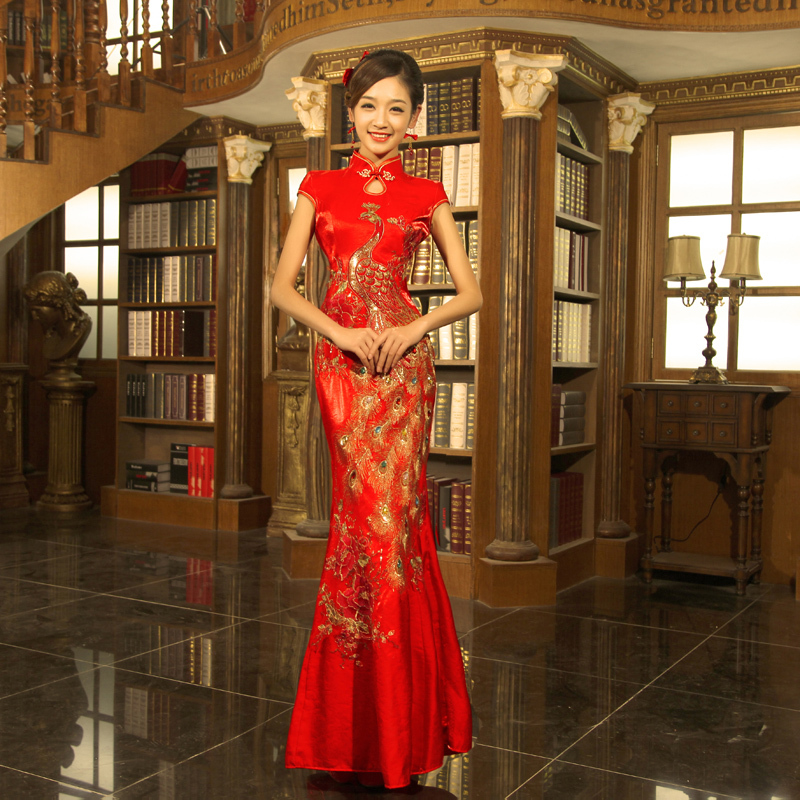 Qipao Wedding Gown: Chinese Vintage Bridal Gown Cheongsam Dress Fish Tail